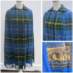 Vintage Tartan Made in Scotland 100% Wool Cape